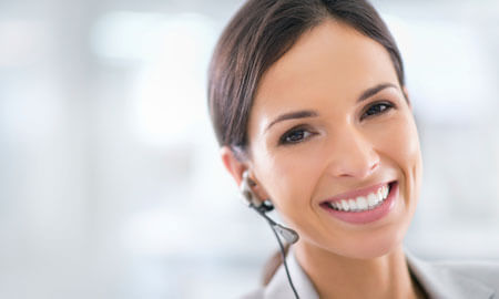 hearing aid happy call center woman